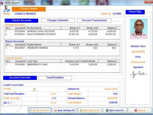 Sacco Software Client account